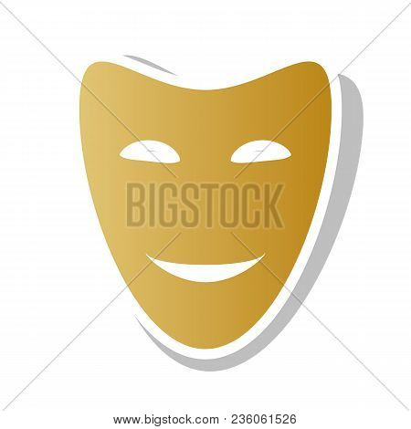 Comedy Theatrical Masks. Vector. Golden Gradient Icon With White Contour And Rotated Gray Shadow At