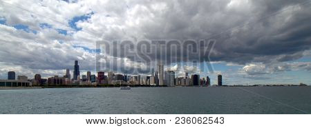 Panoramic View Of Chicago Skyline Cityscape Of High Rises And Skyscrapers As Seen From Lake Michigan
