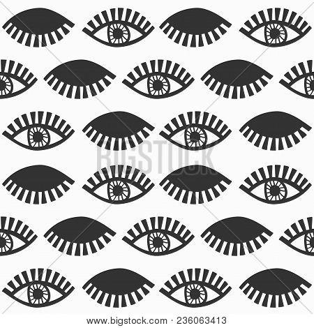 Abstract Black Blinking Feminine Eyes With Lashes Pattern On White Background