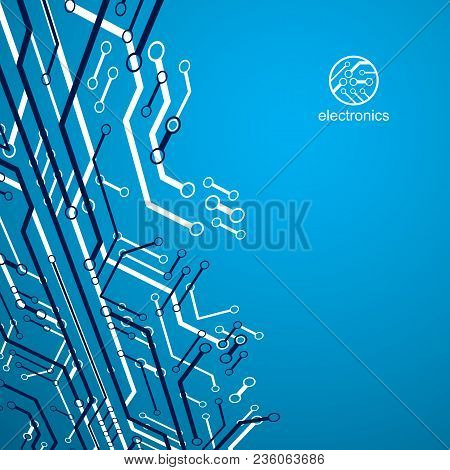 Futuristic Cybernetic Scheme, Vector Motherboard Illustration. Digital Element, Circuit Board. Techn