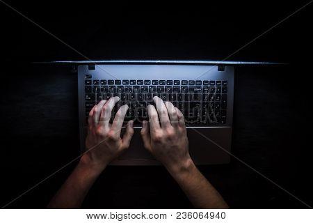 Russian Hacker Hacking The Server In The Dark