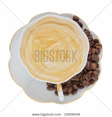 cup of coffee cappuccino  with coffee beans isolated on white background poster