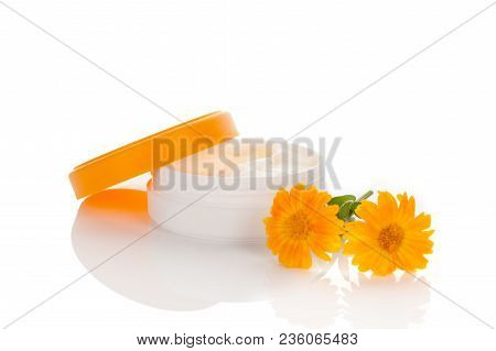 Healthy Medical Cream With Marigold Extract Isolated On White Background. Medicinal Herb.