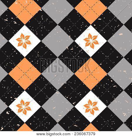 Seamless Argyle Pattern. Diamond Shapes Background. Vector Eps