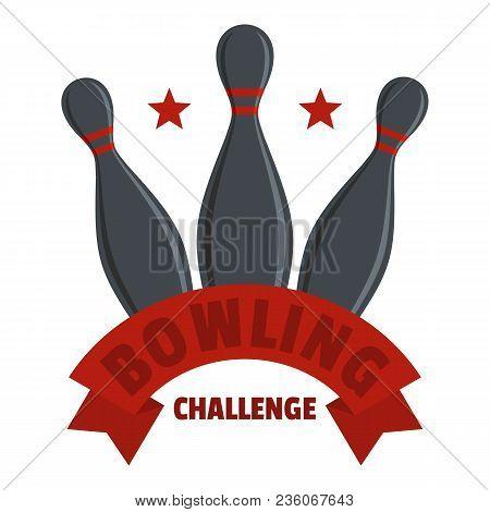Bowling Challenge Logo. Flat Illustration Of Bowling Challenge Vector Logo For Web