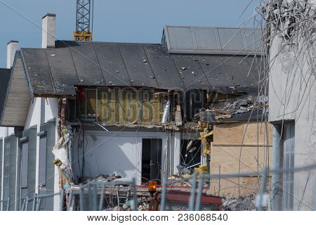 Damaged Building After A Failed Demolition Of A Silo In Town Of Vordingborg In Denmark