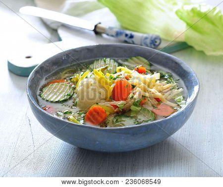 Italian Fresh Summer Vegetable Soup Sprinkled With Grated Cheese