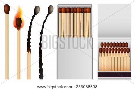 Safety Match Ignite Burn Mockup Set. Realistic Illustration Of 4 Safety Match Ignite Burn Mockups Fo