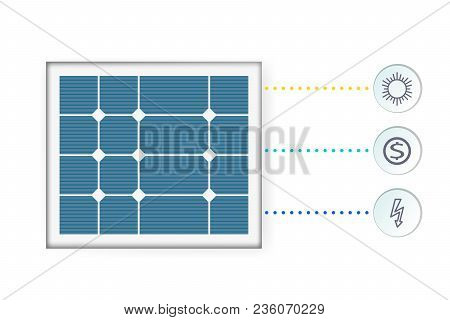 Infographics Of The Solar Panel Concept. Alternative Energy Source. Pattern Vector Illustration. The
