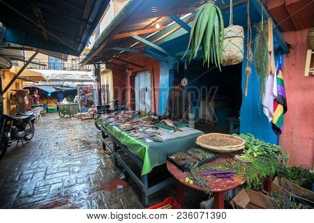 Higuey, Dominican Republic - November 1, 2015: Unidentified Man Selling Fish In Local Market In Higu