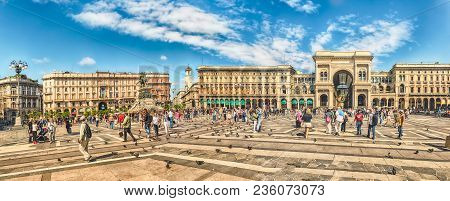 Panoramic View Of Piazza Duomo, Milan, Italy