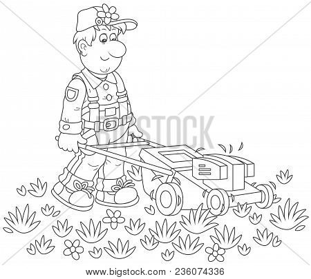 Lawn-mower At Work. Smiling Man Mowing Grass On His Lawn, A Black And White Vector Illustration In A