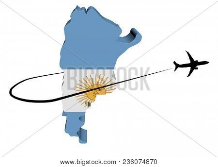 Argentina map flag with plane silhouette and swoosh 3d illustration