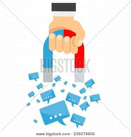 Attraction Of Message. Flat Vector Cartoon Illustration. Objects Isolated On White Background.