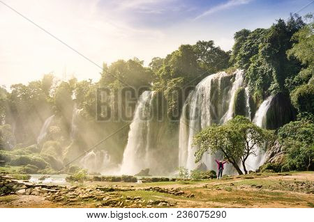 Ban Gioc Waterfall(veitnam Name) Or Detian Waterfall(chinese Name) Waterfall Is The Most Magnificent