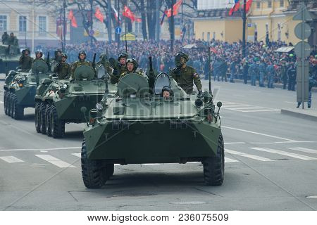 Saint Petersburg, Russia - May 09, 2017: Soldiers Of The Russian Army On Armored Personnel Carriers