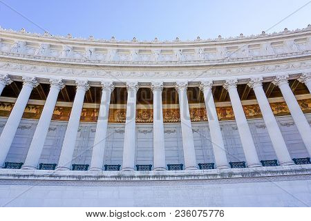 A Front View Of Looking Up At The  Victor Emmanual Monument Or Monument Vittorio Emanuele In The Pia