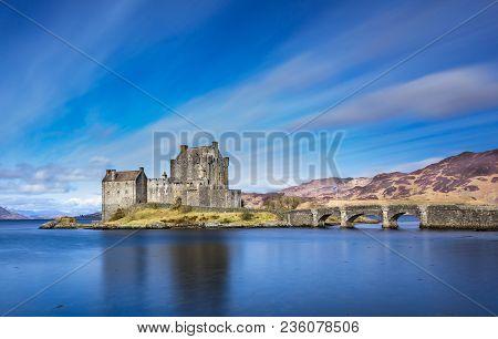 Eilean Donan Castle, Dornie, Scotland - March 30 2018: Eilean Donan Castle, Scotland. Picturesque Sc