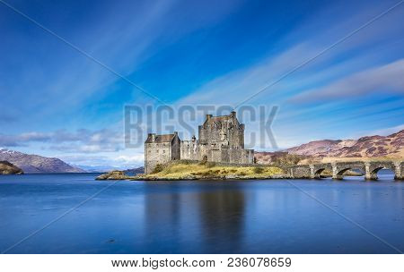 Eilean Donan Castle, Scotland. Picturesque Scottish castle near the village of Dornie, on the route