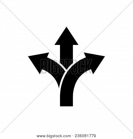 Three-way Direction Arrow Icon In Flat Style. Road Direction Symbol Isolated On White Background Sim