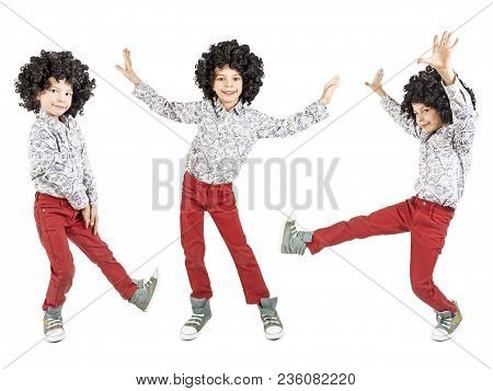 Collage. A Happy Boy In A Blatz Afro Wig Is Dancing. Isolated. White Background.
