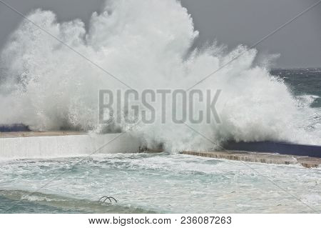 Huge Wave Explosion Close Up Hdr Effect, Big Wave, Storm In The Sea, Stormy Day And Big Waves In The