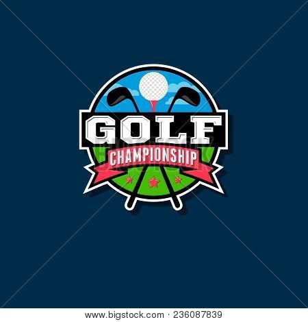 Championship Golf Emblem Golf Club Logo. Golf Ball And Putter Shirts And Ribbons.