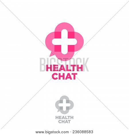 Medical Chat Logo Health Chat Emblem. Online Medical Consultation Icon Chat Button As A Medical Cros