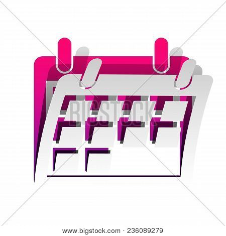 Calendar Sign Illustration. Vector. Detachable Paper With Shadow At Underlying Layer With Magenta-vi