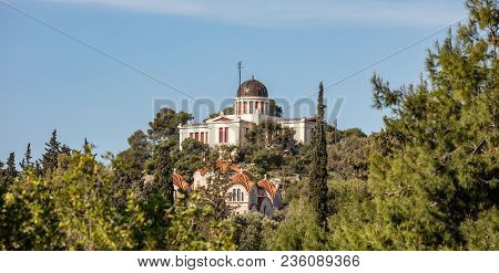 Athens, Greece. National Observatory View From Plaka Streets