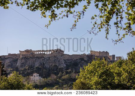 Athens, Greece. Acropolis View From Plaka Streets