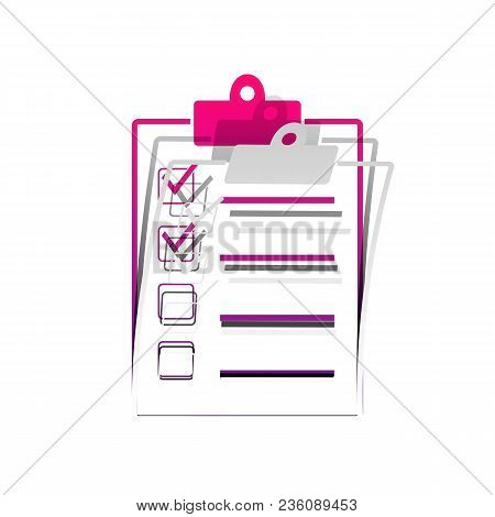 Checklist Sign Illustration. Vector. Detachable Paper With Shadow At Underlying Layer With Magenta-v