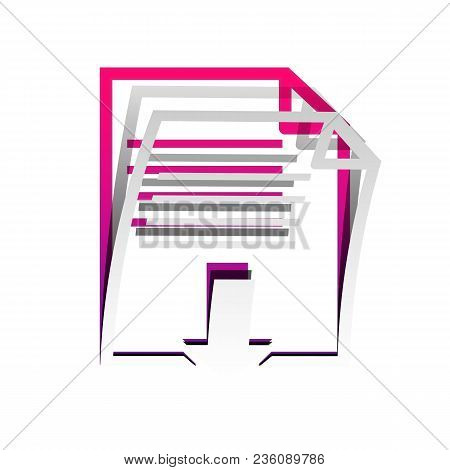 File Download Sign. Vector. Detachable Paper With Shadow At Underlying Layer With Magenta-violet Bac