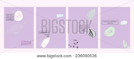 Artistic Minimal Universal Card Templates With Abstract Hand Drawn Doodles.