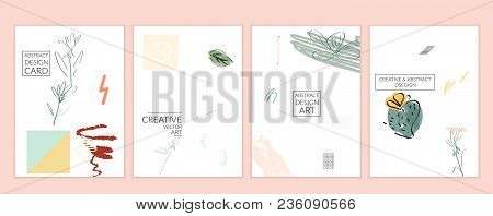Universal Card Templates In Memphis Style With Abstract Hand Drawn Doodles On White