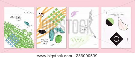 Card Templates In Memphis Style With Abstract Hand Drawn Doodles