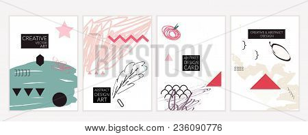 Minimal Universal Card Templates In Memphis Style With Abstract Hand Drawn Doodles