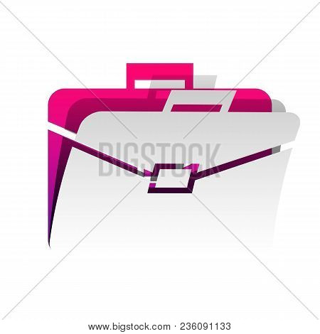 Briefcase Sign Illustration. Vector. Detachable Paper With Shadow At Underlying Layer With Magenta-v