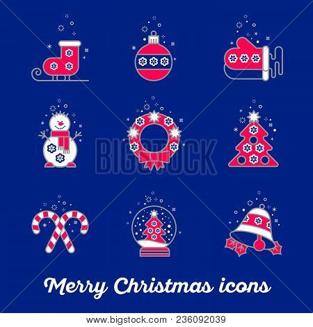 Merry Christmas Icon Set. Snowman Skates Mittens Wreath Boll Bell Snowball Sweets Tree On A Blue Bac