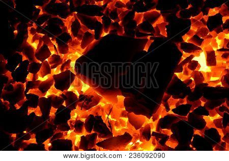 A Bright Contrasting Background Consisting Of Burning Angers Of Anthracite Of Different Fractions.
