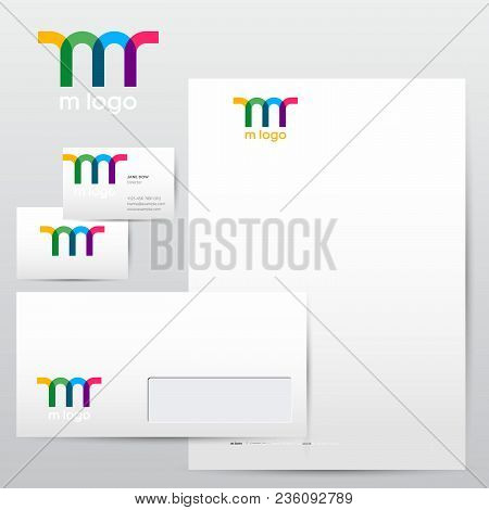 Colorful Transparent M Logo And Identity. Identity Letterhead Envelopes Business Cards.