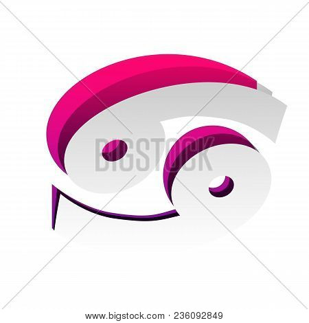 Cancer Sign Illustration. Vector. Detachable Paper With Shadow At Underlying Layer With Magenta-viol