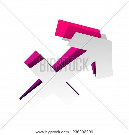Sagittarius Sign Illustration. Vector. Detachable Paper With Shadow At Underlying Layer With Magenta