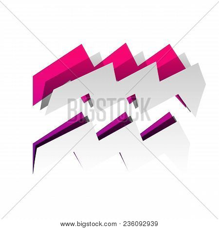 Aquarius Sign Illustration. Vector. Detachable Paper With Shadow At Underlying Layer With Magenta-vi