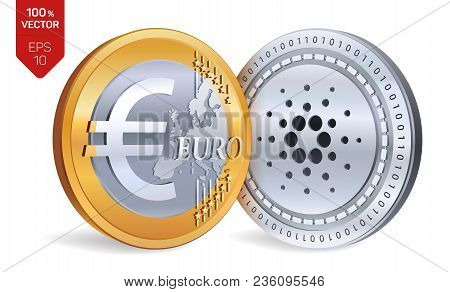 Cardano. Euro. 3d Isometric Physical Coins. Digital Currency. Cryptocurrency. Golden And Silver Coin
