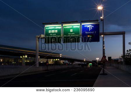 Frankfurt, Germany - April 12 2018: Long Exposure Photo Of Cars Passing To Airport Terminal In Frank