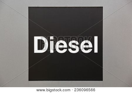 Diesel Sign At A Petrol Station On A Panel