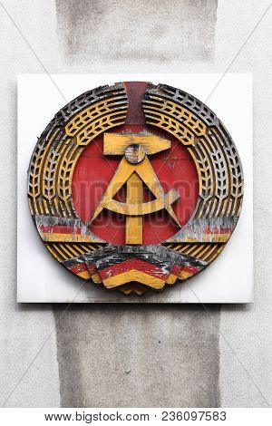 German Democratic Republic, Gdr Sign On A Wall Near Checkpoint Charlie In Berlin, Germany