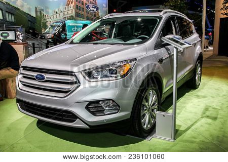 NEW YORK CITY-MARCH 28: Ford Escape Titanium shown at the New York International Auto Show 2018, at the Jacob Javits Center. This was Press Preview Day One of NYIAS, on March 28, 2018.