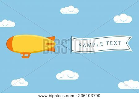 Dirigible With Ribbon For Message. Airship Or Zeppelin With Banner. Flying Blimp In Sky With Clouds.